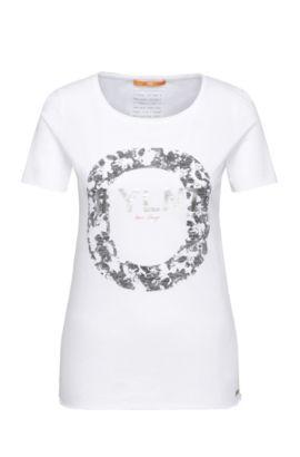 Camiseta slim fit en algodón con impresión metalizada delantera: 'Tishirt', Fantasía