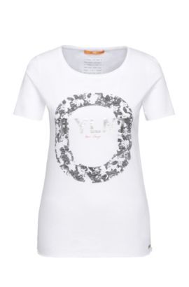 Slim-fit cotton t-shirt with metallic front print: 'Tishirt', Patterned