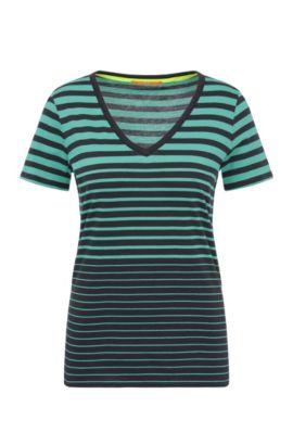 Camiseta a rayas slim fit en algodón con escote en pico: 'Vashion', Verde