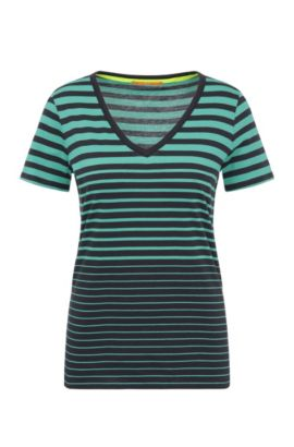Striped slim-fit V-neck shirt in cotton: 'Vashion', Green