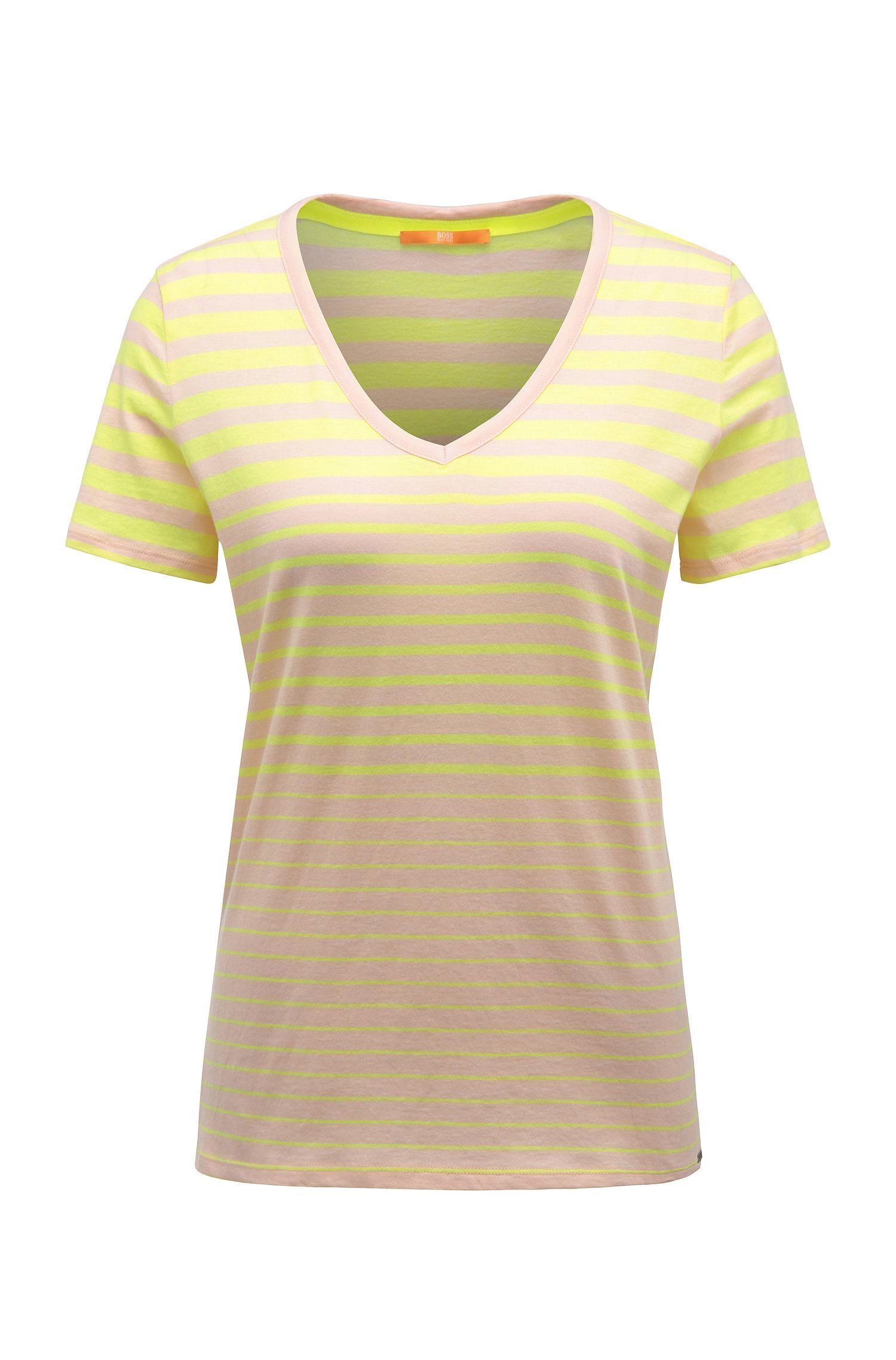 Maglietta in cotone slim fit a righe con scollo a V: 'Vashion'