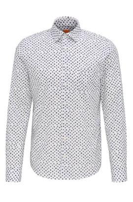 Slim-Fit Hemd aus Baumwolle mit Print: ´Epop`, Weiß