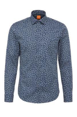 Slim-fit shirt in cotton with print: 'Epop', Dark Blue