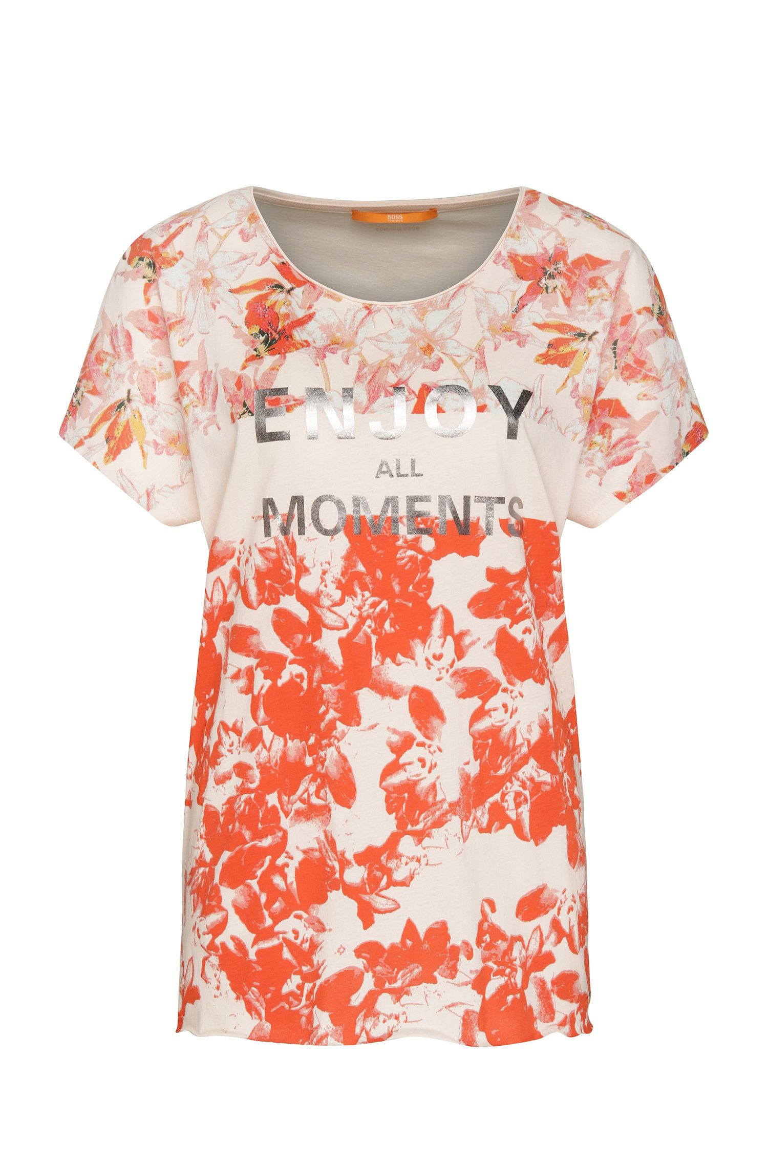 Relaxed-fit cotton top with floral pattern: 'Taprint'