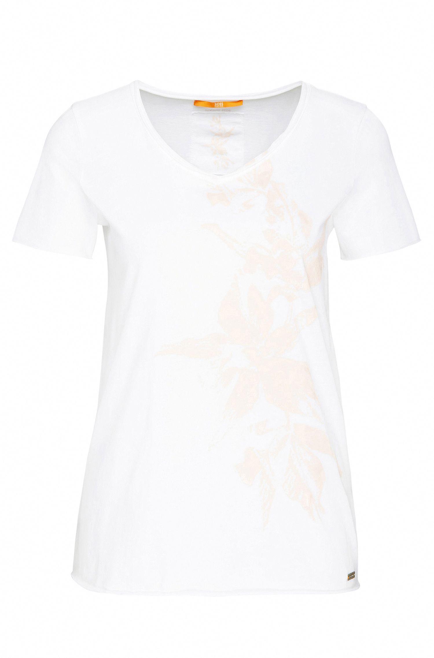 Slim-Fit T-Shirt aus Baumwolle mit Blüten-Print: ´Vashirt`