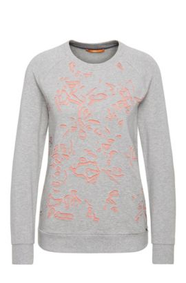 Regular-fit sweatshirt in stretchy viscose blend with cotton: 'Tercut', Grey