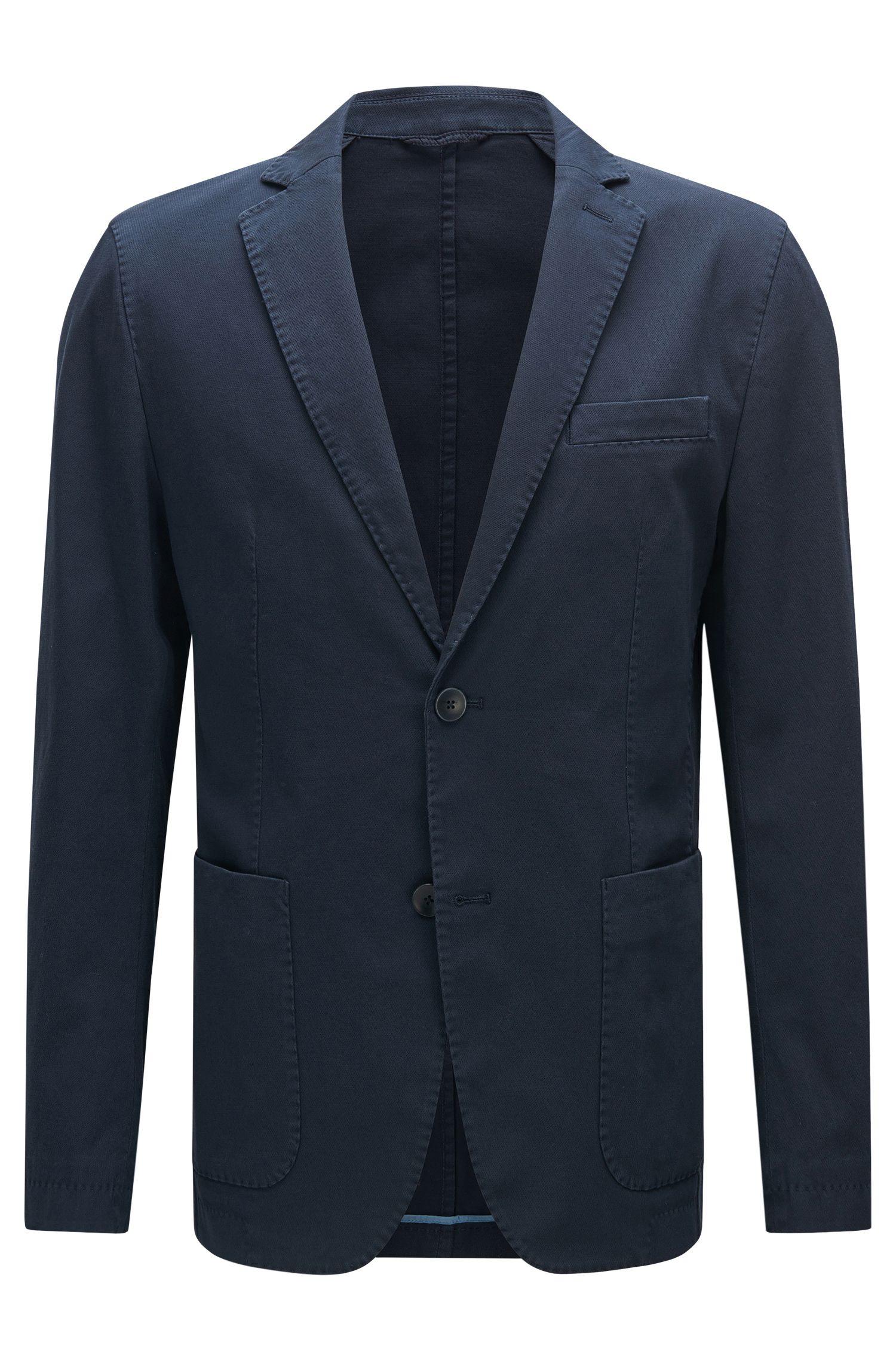 Unifarbenes Slim-Fit Sakko aus Stretch-Baumwolle: 'Niells1-D'