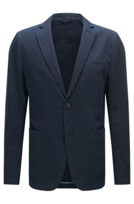 Unifarbenes Slim-Fit Sakko aus Stretch-Baumwolle: 'Niells1-D', Dunkelblau