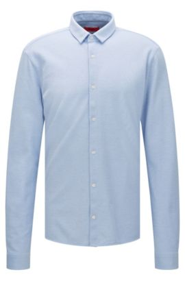 Extra slim-fit shirt in cotton piqué: 'Ero3', Light Blue