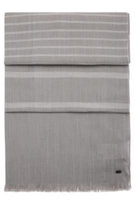 Gestreifter und melierter Schal aus softer Baumwolle: ´Scarf-Melange`, Hellgrau