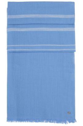 Chal jaspeado y a rayas confeccionado en suave algodón: 'Scarf-Melange', Azul