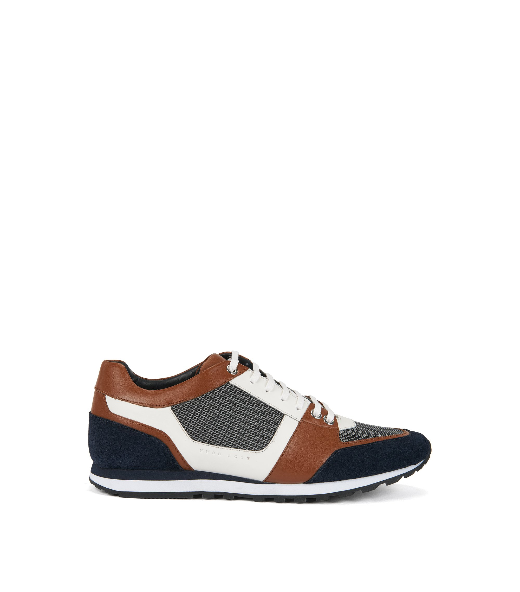 Sneakers aus Leder und Material-Mix im Colour Block Design, Braun