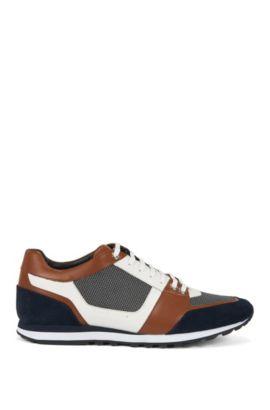 Sneakers aus Leder mit Textil-Besätzen: 'Breeze_Runn_mx', Braun