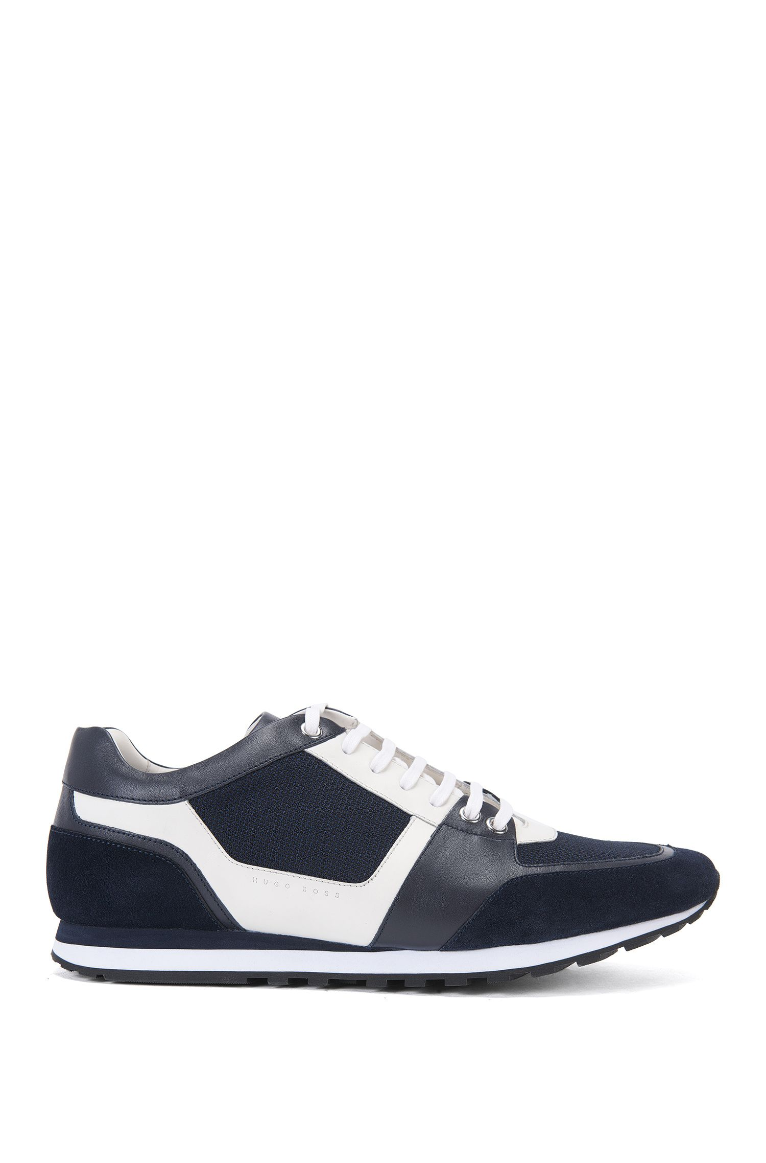 Leather trainers with textile trims: 'Breeze_Runn_mx'