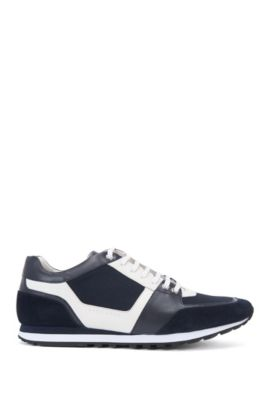 Leather trainers with textile trims: 'Breeze_Runn_mx', Dark Blue