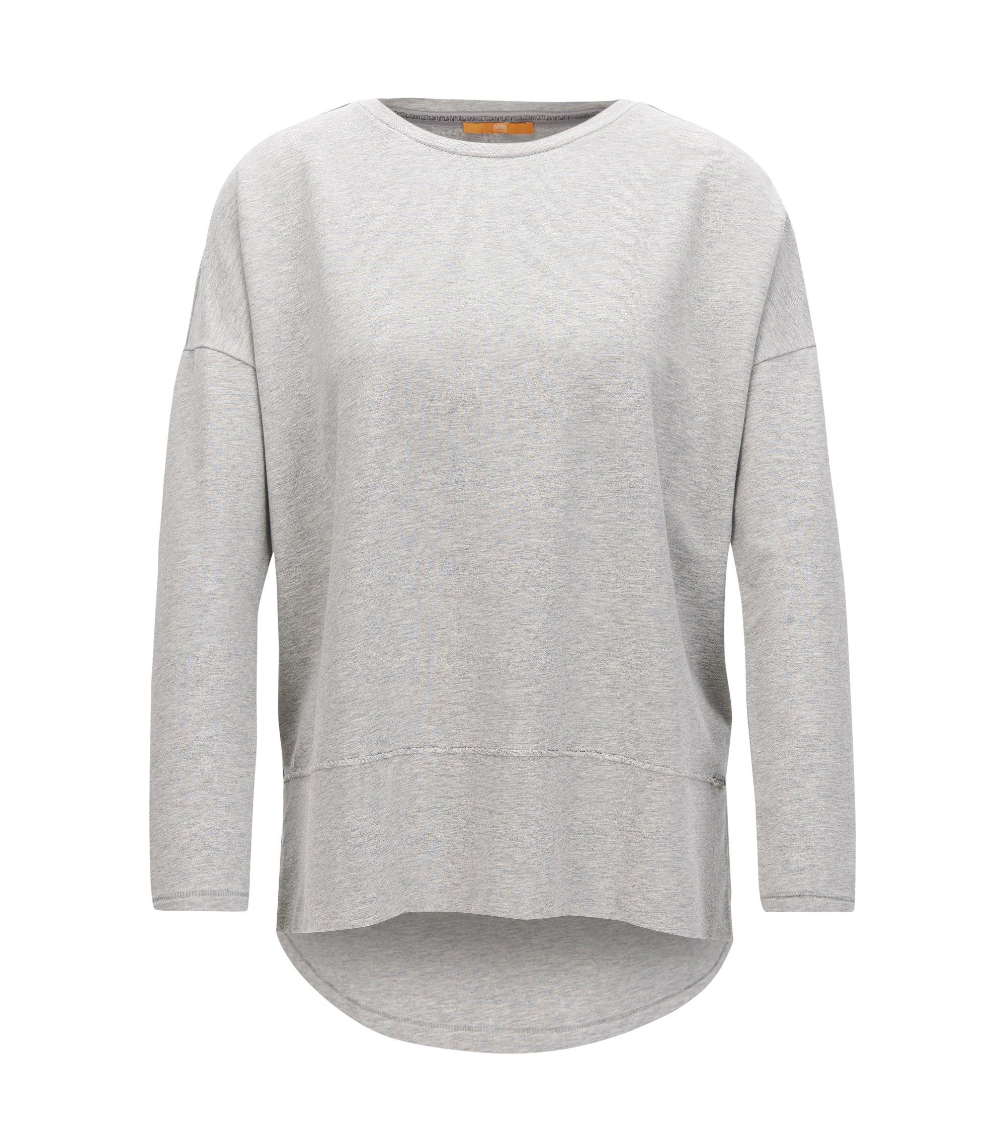 Relaxed-Fit Pullover aus Jersey mit offenen Kanten, Grau