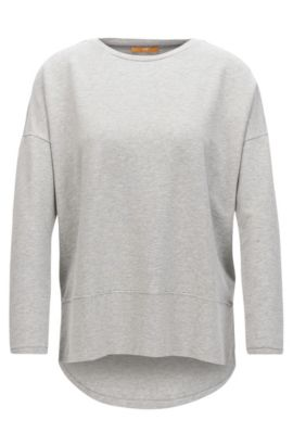 Relaxed-fit jersey sweater with raw-cut edges, Grey