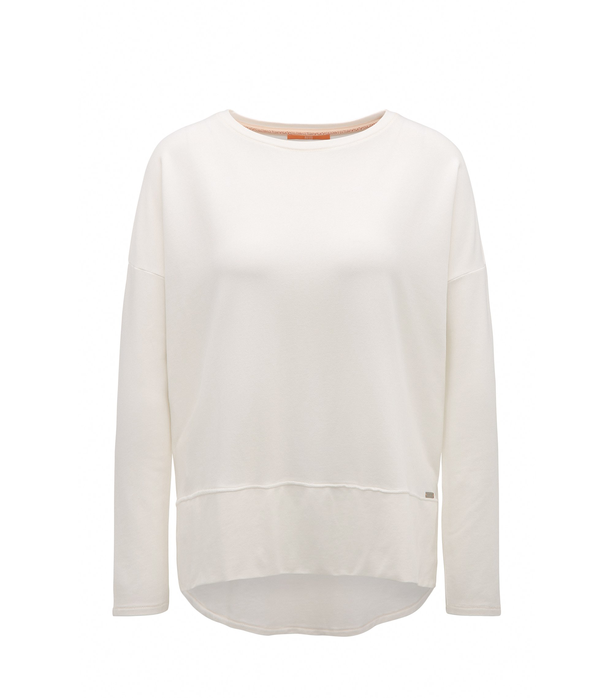 Relaxed-fit jersey sweater with raw-cut edges, Natural