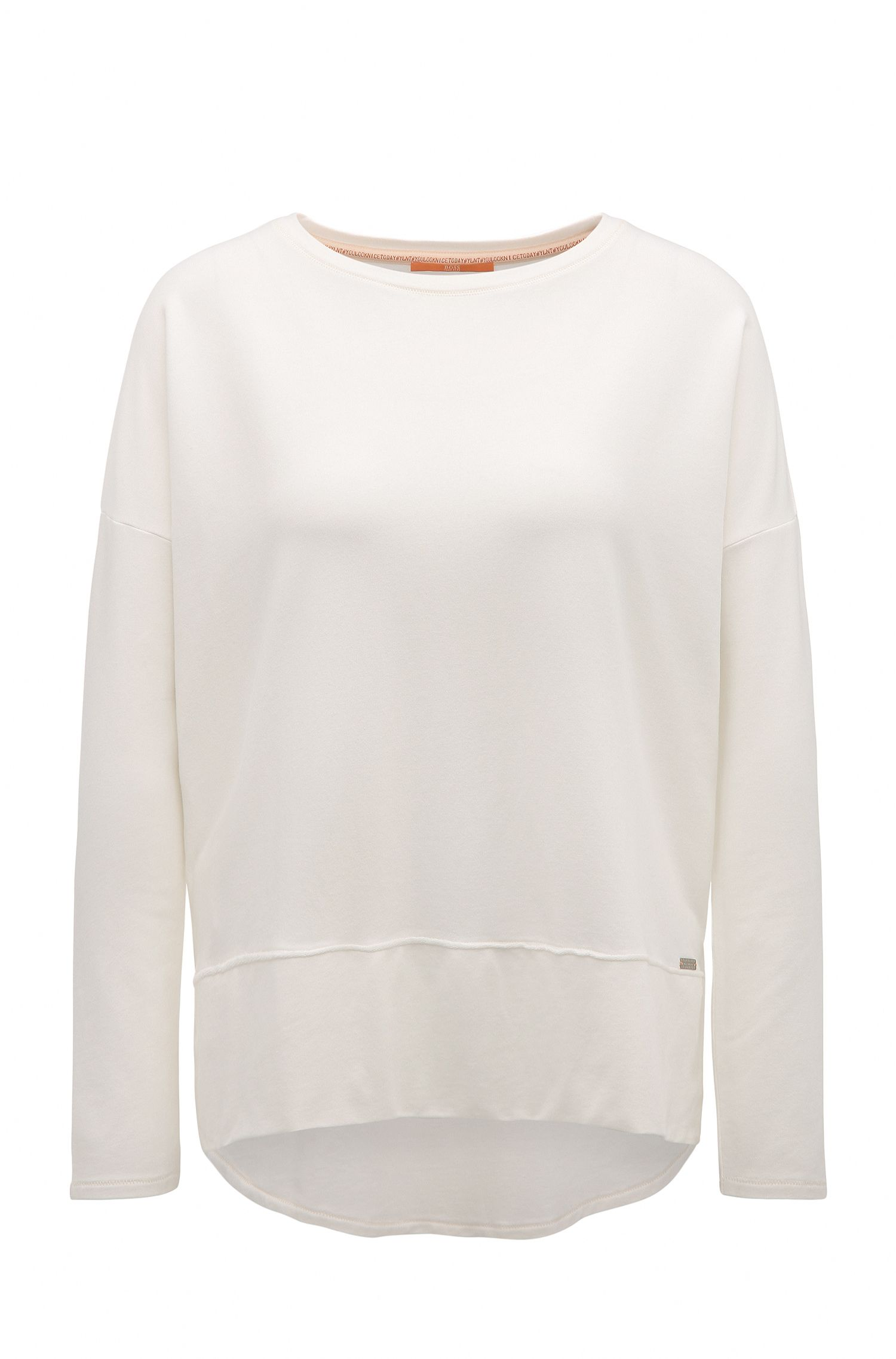 Relaxed-fit jersey sweater with raw-cut edges