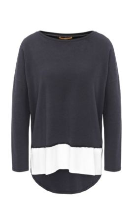 Relaxed-fit jersey sweater with raw-cut edges, Dark Blue