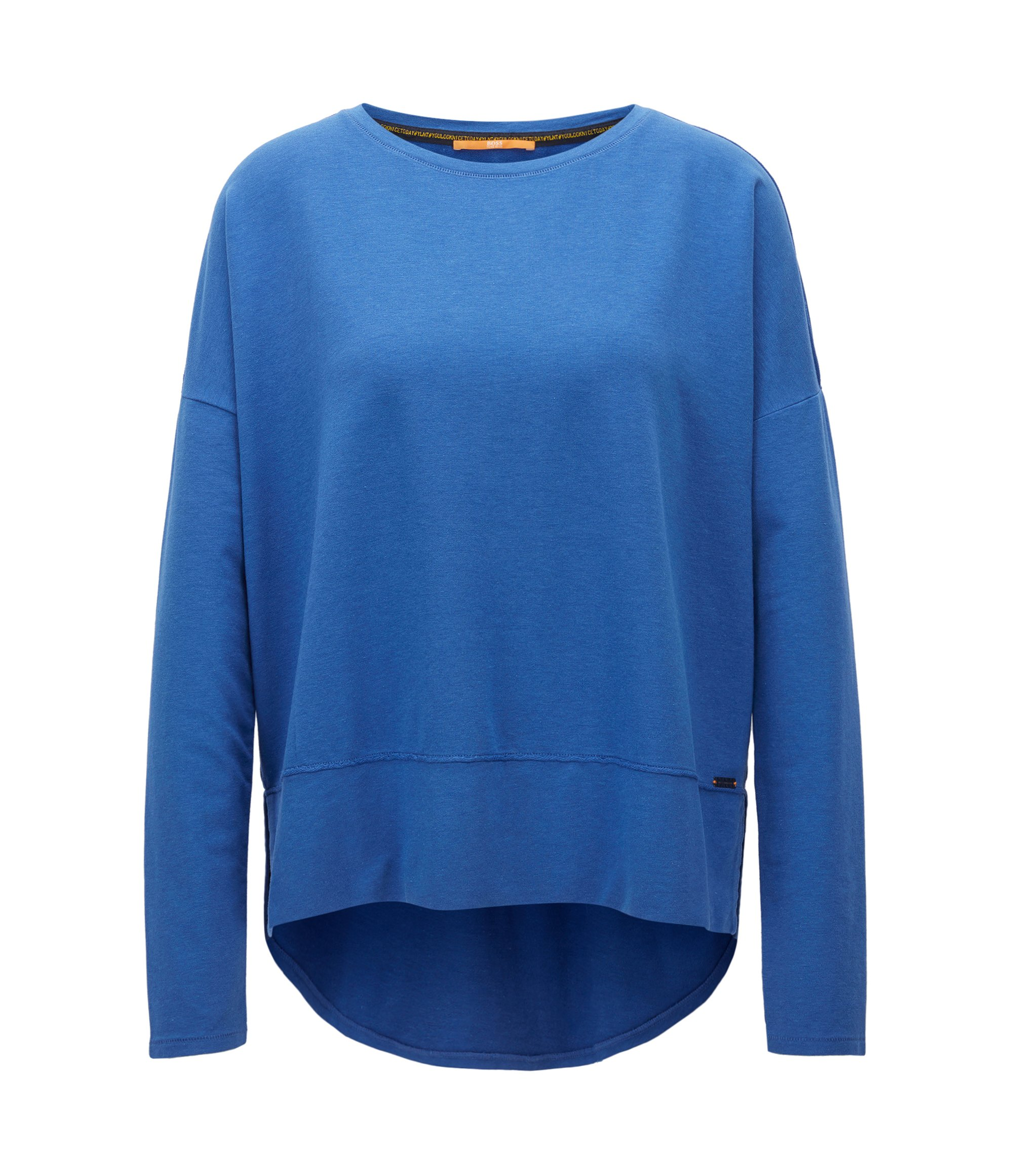 Relaxed-fit jersey sweater with raw-cut edges, Blue