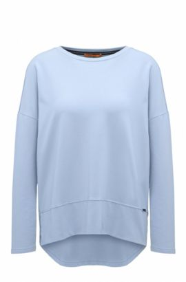Maglione in jersey relaxed fit con bordi a taglio vivo, Blue Scuro
