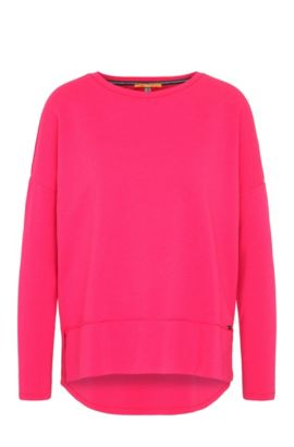 Relaxed-fit jersey sweater with raw-cut edges, Pink