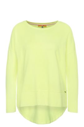 Relaxed-fit jersey sweater with raw-cut edges, Yellow