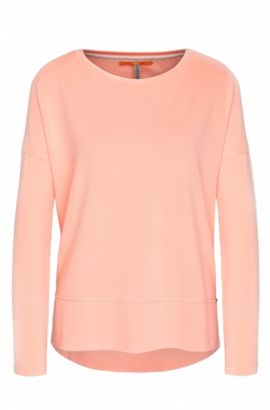 Relaxed-fit jersey sweater with raw-cut edges, Orange