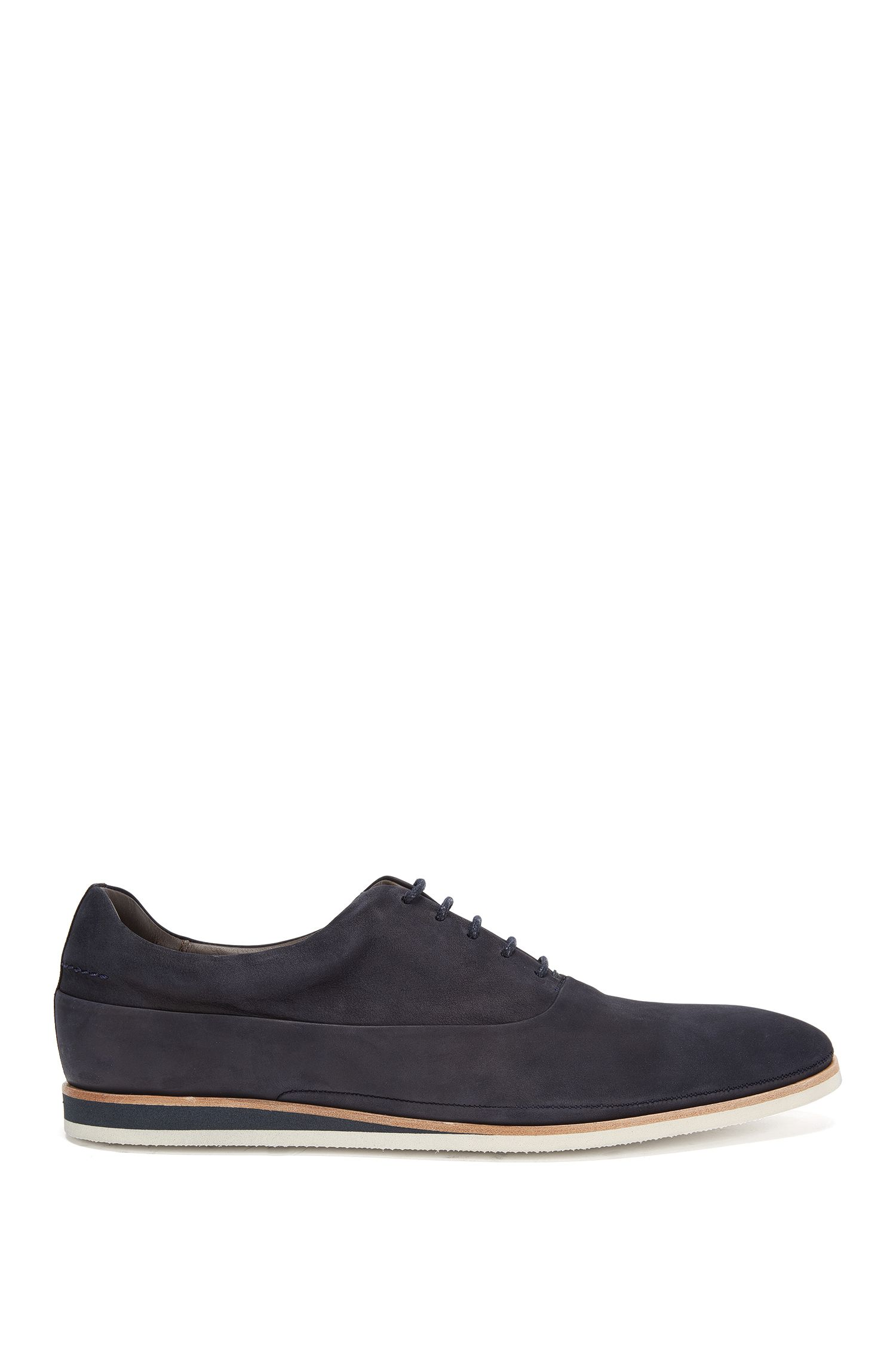 Leather lace-up shoes with soles in a contrasting colour: 'Eclectic_Oxfr_nu'