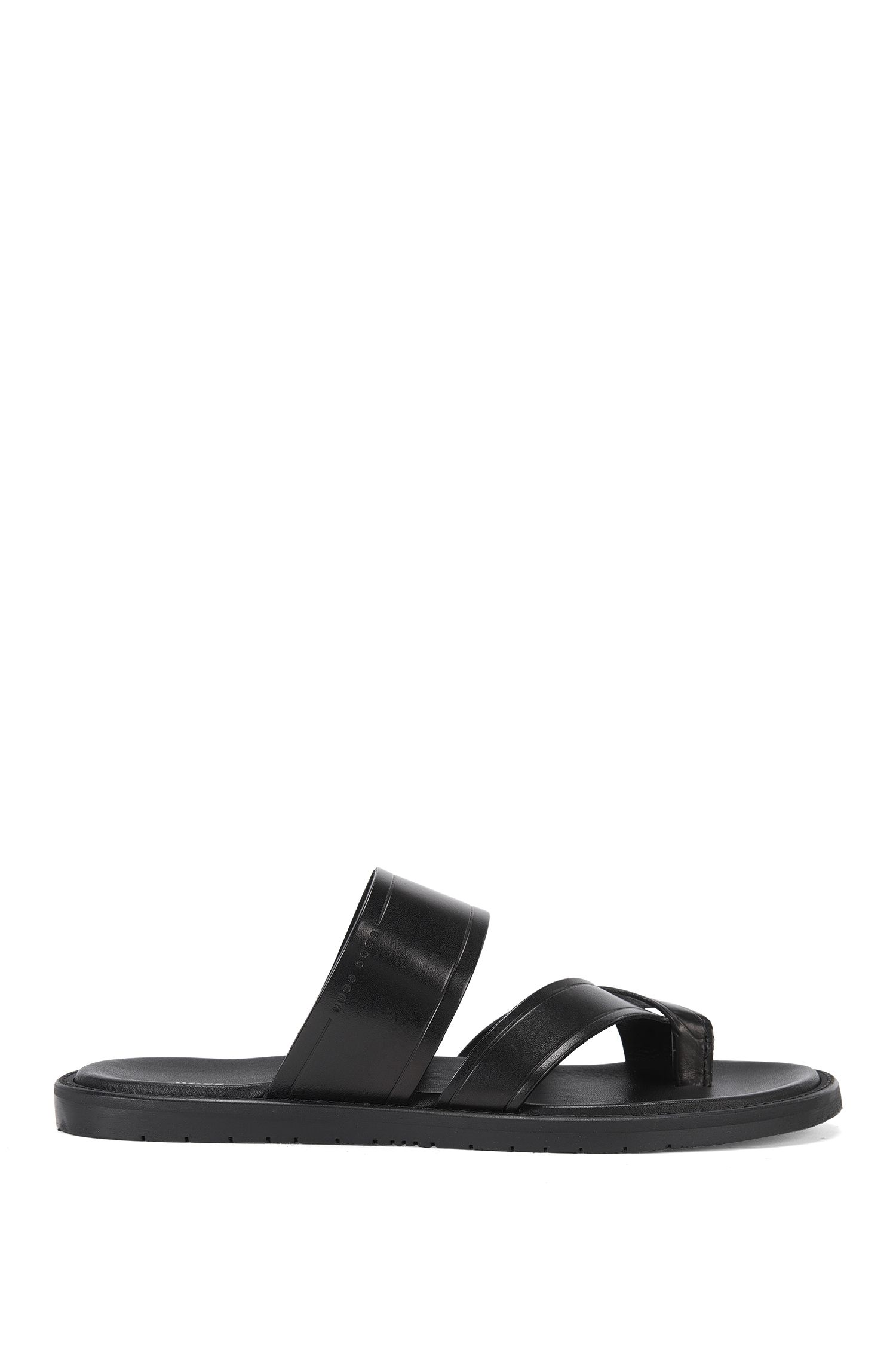 Plain toe-separator sandals in leather: 'Hamptons_Thon_ltsn'