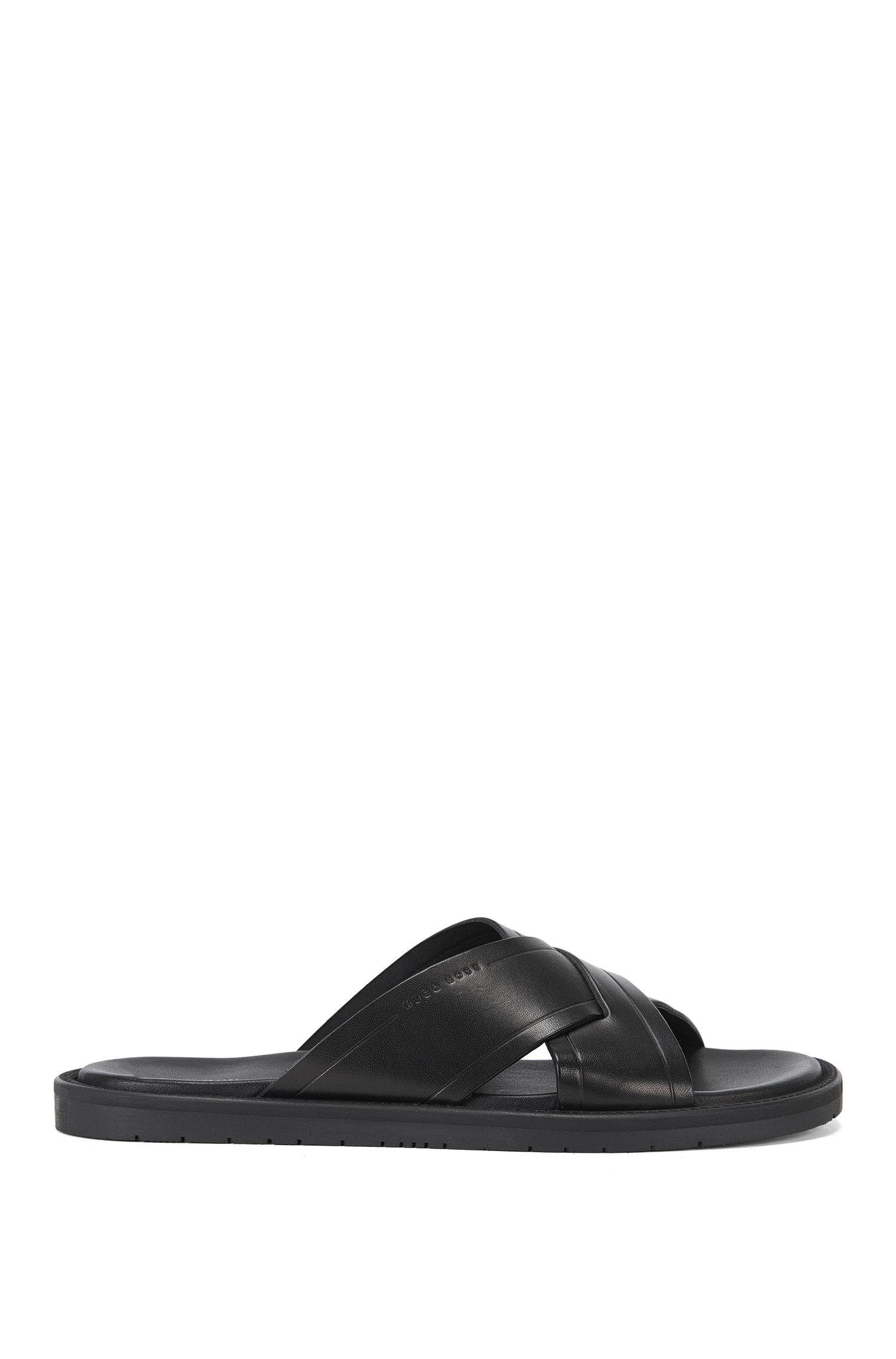 Unifarbene Sandalen aus Leder: 'Hamptons_Slid_ltcc'