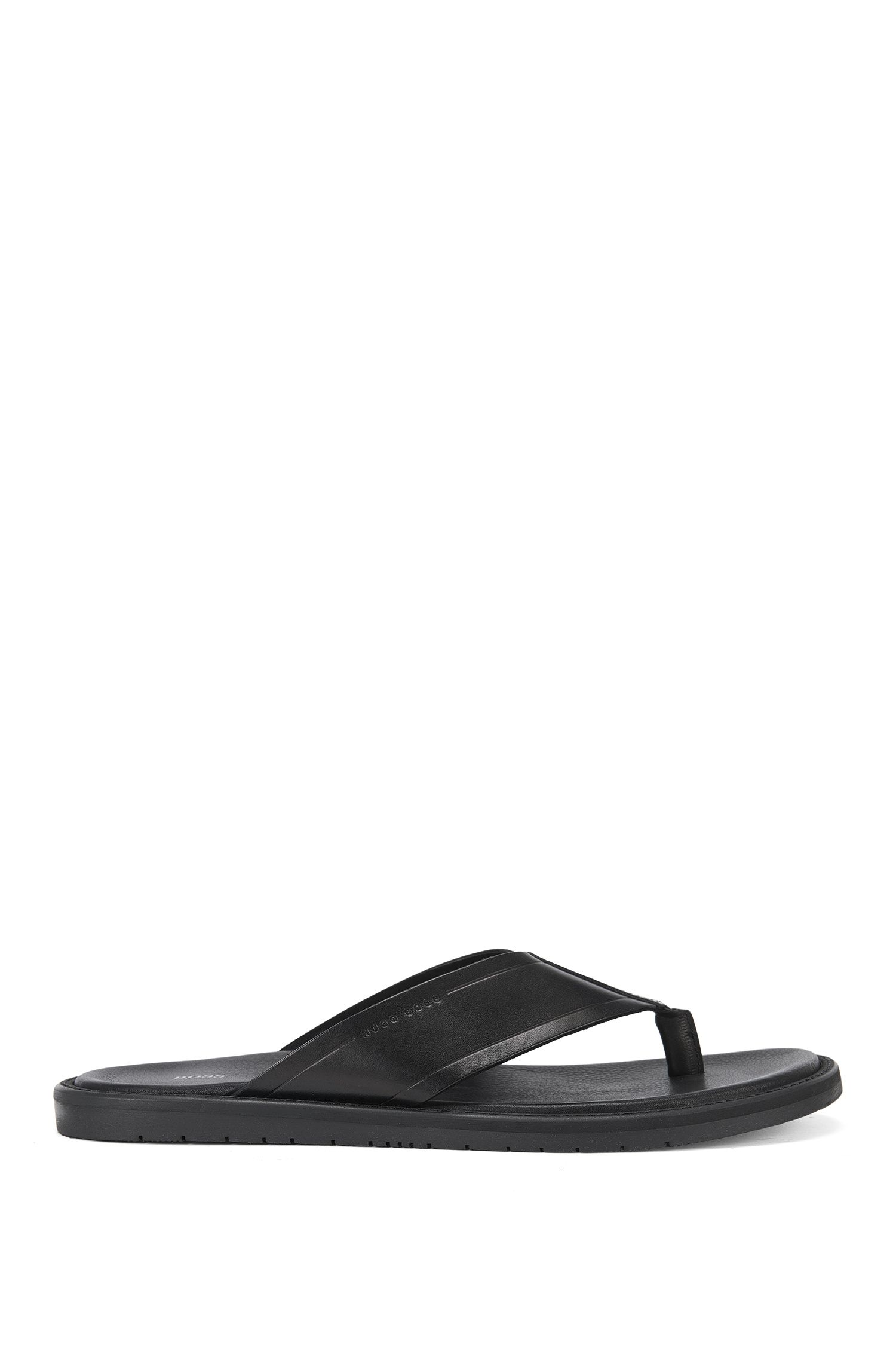 Plain toe-separator sandals in leather: 'Hamptons_Thon_Itth'