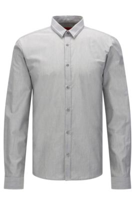Mottled extra slim-fit shirt in cotton with contrasting stripes: 'Ero3', Open Grey