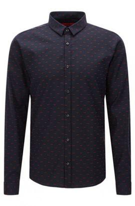 Camicia extra slim fit a disegni in cotone: 'Ero3', Blu scuro