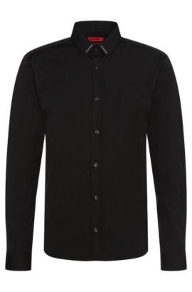 Chemise Extra Slim Fit en coton ornée de détails en métal: «Ero3», Noir