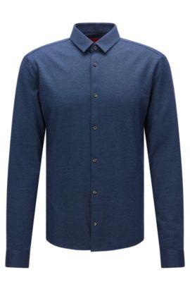 Fein gemustertes Extra Slim-Fit Hemd aus Baumwolle: 'Ero3', Blau