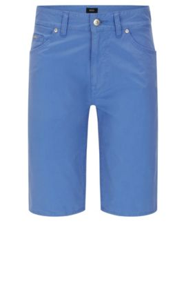 Regular-fit shorts in stretch cotton: 'Maine-Shorts-20', Blue