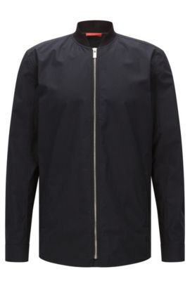 Camisa oversized fit en algodón de estilo cazadora: 'Esuper', Negro
