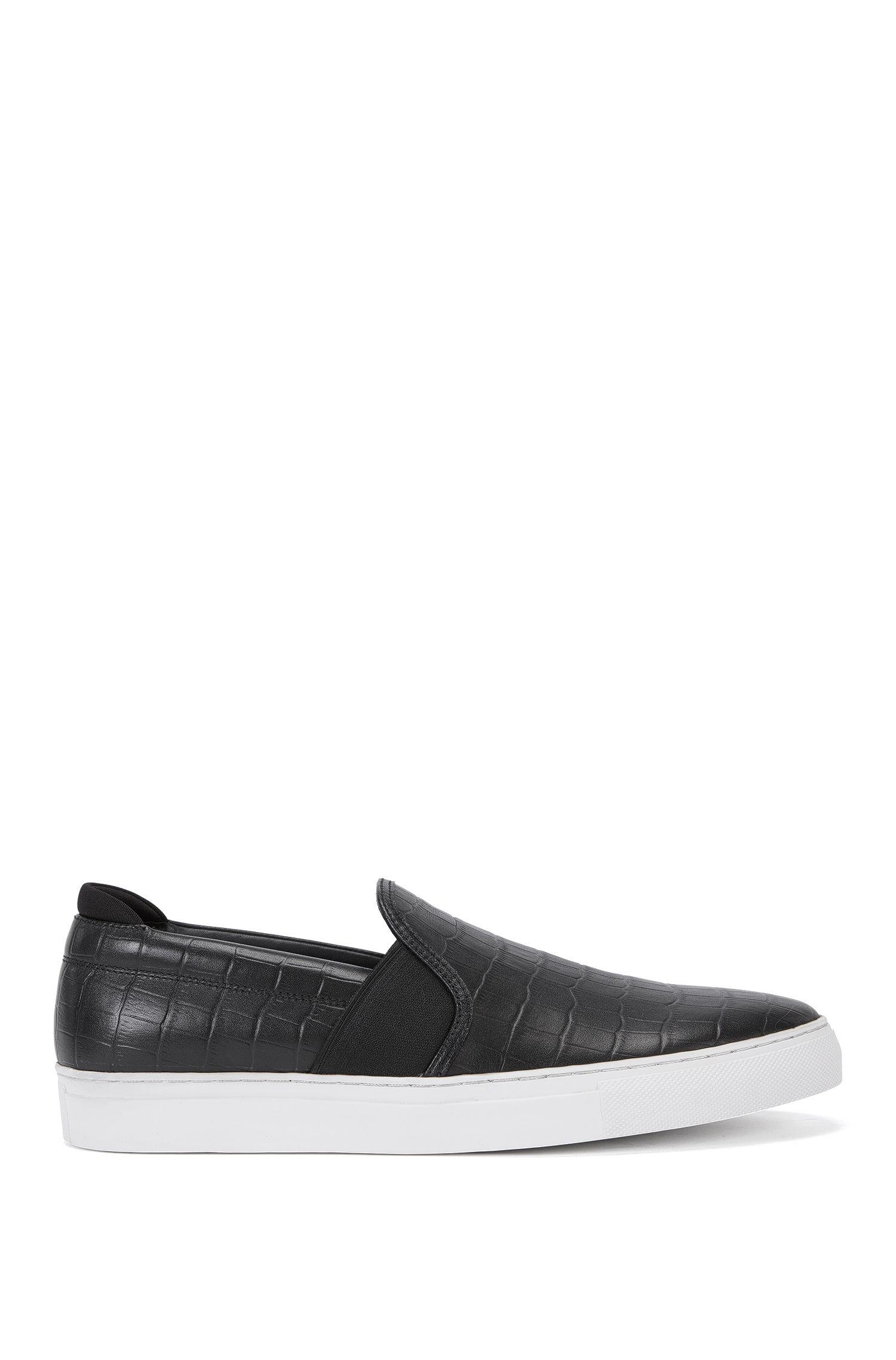 Schnürlose Sneakers aus geprägtem Leder: 'Timeless_Slon_exo'