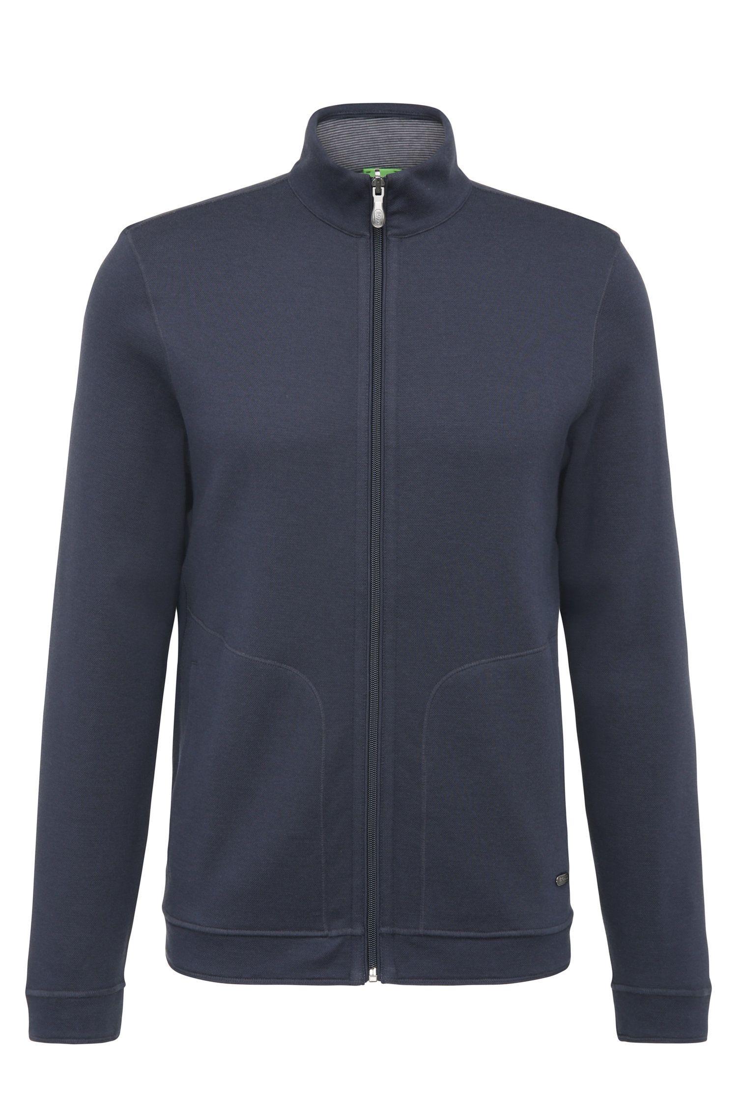 Texturierte Regular-Fit Sweatshirt-Jacke aus Baumwoll-Mix: ´C-Fossa`