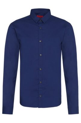Extra slim-fit shirt in pure cotton: 'Ero3', Blue