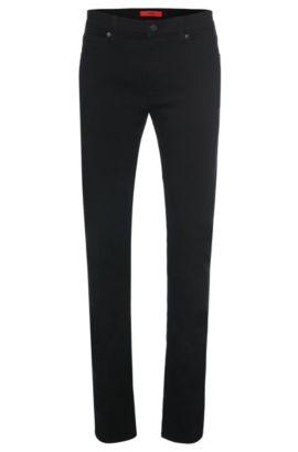 Skinny-fit jeans van een katoenmix met uv-bescherming: 'HUGO 734', Zwart