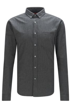 Mottled extra slim-fit shirt in cotton: 'Enico', Black