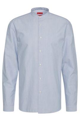 Chemise Regular Fit en coton à col mao court: «Eddison», Bleu vif