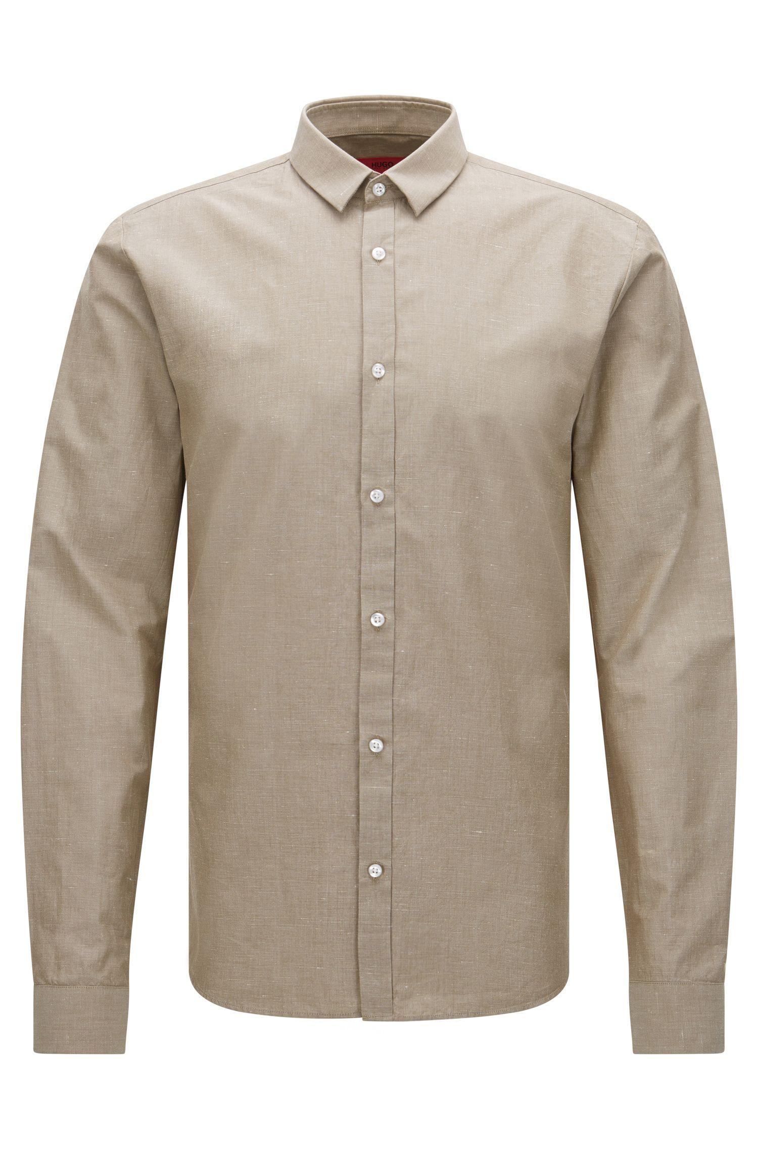 Extra slim-fit overhemd van een Egyptische katoenmix met linnen: 'Ero3'