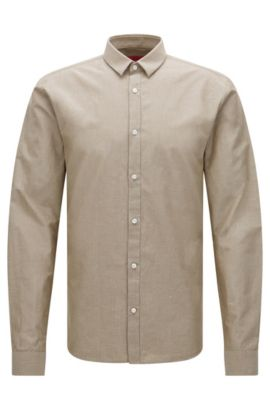 Extra slim fit shirt in an Egyptian cotton blend with linen: 'Ero3', Beige