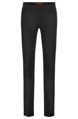 Slim-Fit Jeans aus Stretch-Baumwolle in Rinsed-Optik: 'HUGO 708', Schwarz