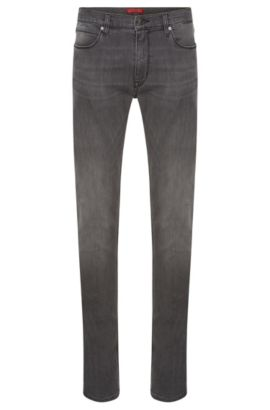 Slim-fit jeans van stretchkatoen met used-wassing: 'HUGO 708', Donkergrijs