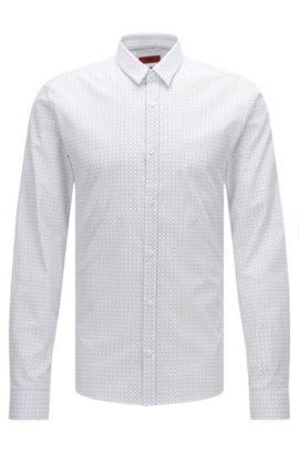 Geruit extra slim-fit overhemd van katoen: 'Ero3', Wit